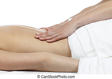 close up image of female having back massage