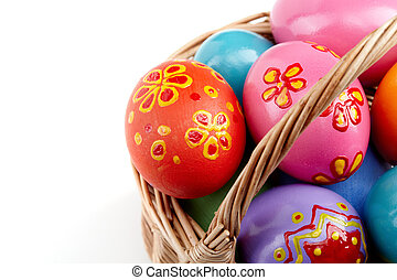 Easter eggs in basket - Image of colored Easter eggs in...