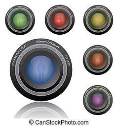Image of colorful camera lenses isolated on a white background with various silhouettes.