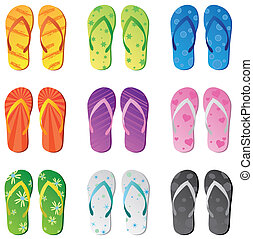 Image of colorful flip flops isolated on a white background.
