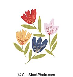 Image of colorful flowers on a white background