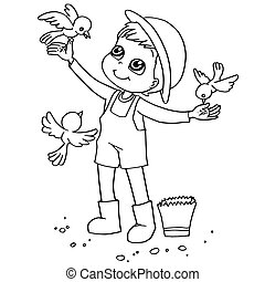 Coloring Book Child Feeding Birds V