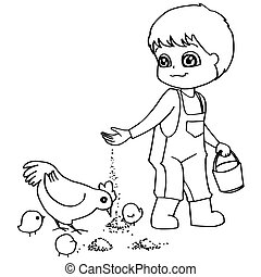 Coloring book  child feeding chicke