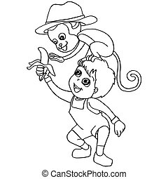 Coloring book child feeding monkey - image of Coloring book...