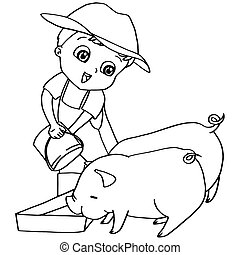 Coloring book child feeding pigs v - image of Coloring book...