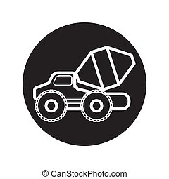 Concrete Mixer Truck icon vector - image of Concrete Mixer...