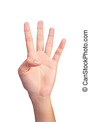 Image of Counting woman's left hands finger number (4 or 9)