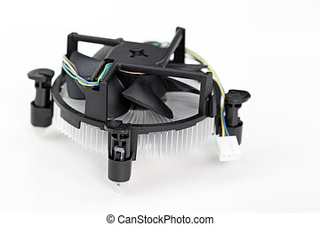 Image of Cpu fan on a white background.