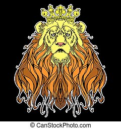 Image of crowned lion on black - Vector image of crowned...