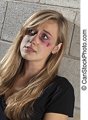 crying abuse woman - Image of crying abuse woman looking up