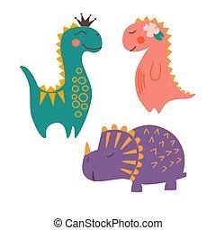 Image of cute, cartoon dinosaurs, flat style