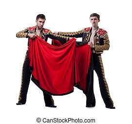 Image of cute guys posing dressed as toreadors
