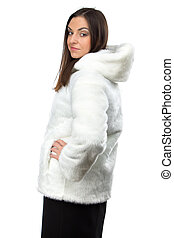 Image of cute woman in white fur coat from back