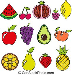 Image of different fruits. Still life of beautiful fresh fruits.