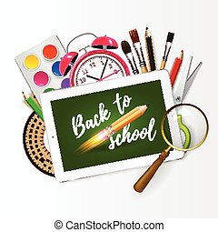 Image of digital tablet on students desk showing back to school message. Modern school background welcome back to school with rocket pencil creativ idea and with supplies. Vector illustration.
