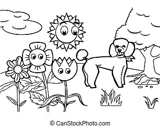 dog cartoon Coloring book vector