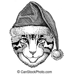 Image of domestic cat wearing christmas hat New year eve...
