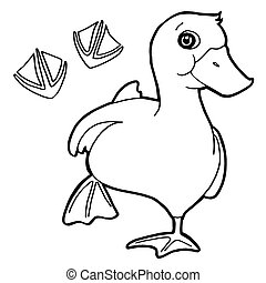 duck  with paw print Coloring Pages
