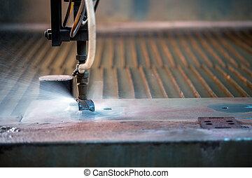 Image of effective method cutting metal - waterjet, close-up