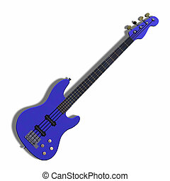 bass  - image of electric bass with shadow and Clipping Path