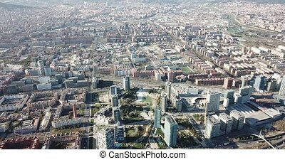 Aerial view of Barcelona cityscape with a modern apartment buildings, Spain