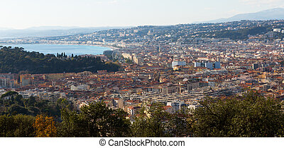 Image of european city Nice with apartment view of sea
