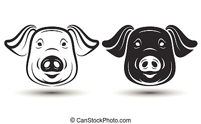 face pig - image of face pig silhouette and drawing design...