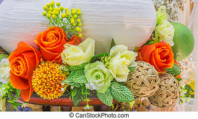 image of fake mixed colorful flower.