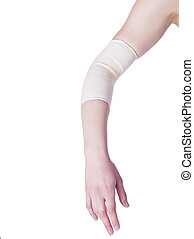 female elbow with bandage