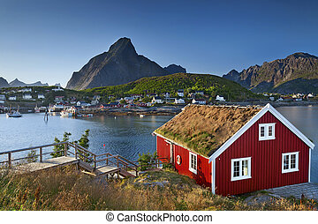 Image of fishing village in Lofoten Islands area in Norway.