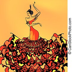 image of flamenco dancer girl