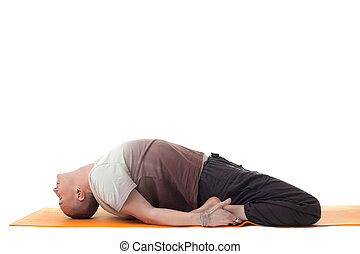 Image of flexible man lying in relaxed position