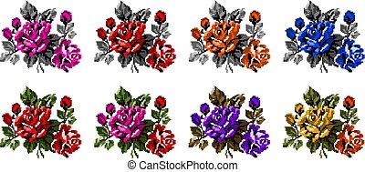 Pixel Art Love And Flowers Vector Pixel Art Love And