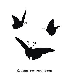 Image of flying butterflies on a white background