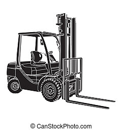 image of Forklift silhouette vector - perspective - illustration