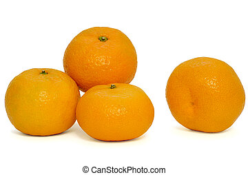 four tangerines on a white background