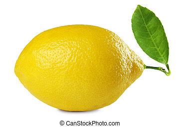 fresh lemon - image of fresh lemon with leaf isolated on...