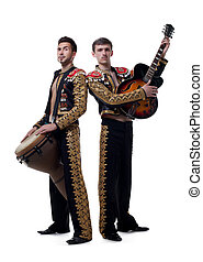 Image of funny musicians dressed as Spanish macho