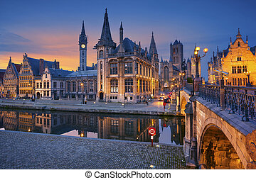Ghent - Image of Ghent, Belgium during twilight blue hour.