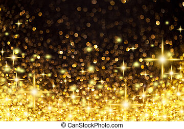 Image of Golden Christmas Lights and Stars Background