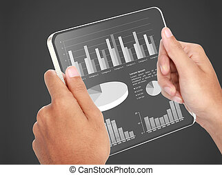 image of hands holding futuristic transparent tablet pc. business chart financial concept