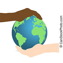 Image of hands holding up the earth isolated on a white background.