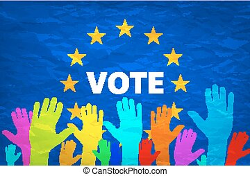 Image of hands on the background of the European flag. make a choice. vote. Cast your vote for Europe