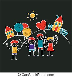 Image of happy children. Kids drawing style