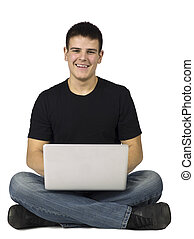 happy teenage guy with laptop