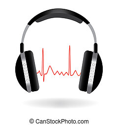 Image of headphones and sound wave isolated on a white background.