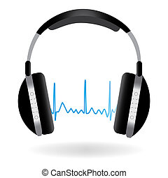 Image of headphones and soundwave isolated on a white...