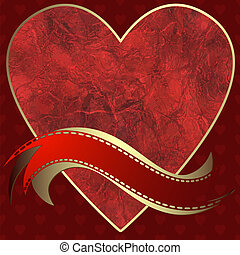 Image of heart on a red background