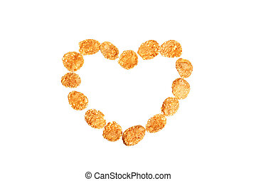 Image of heart shape made of corn flakes against white background
