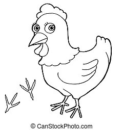 hen with paw print Coloring Pages v
